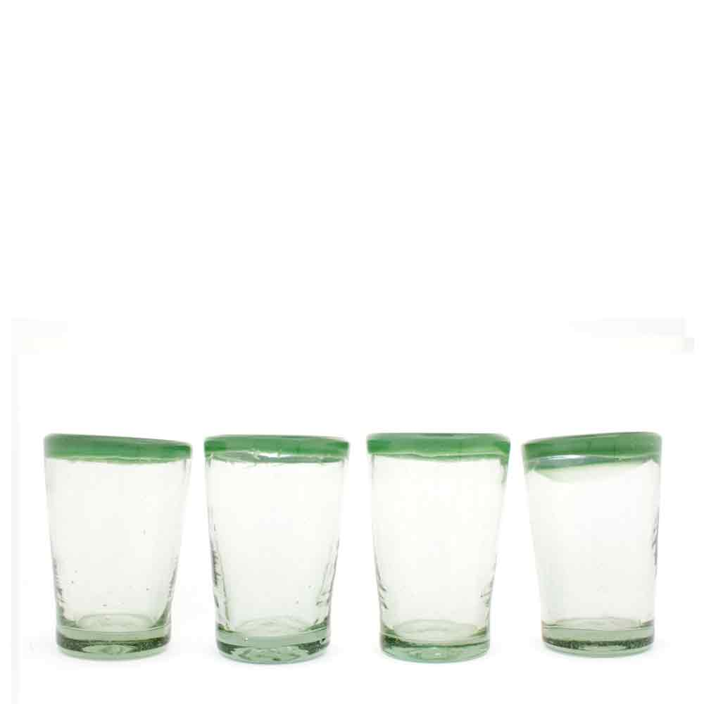 Clear with a milky green rim, hand made recycled glassware from Mexico