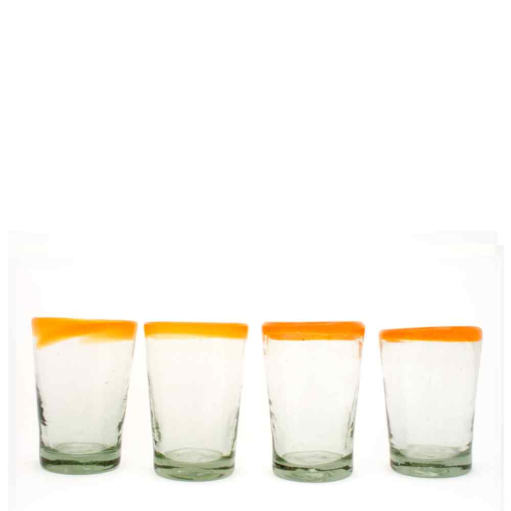 clear with an orange rim tumbler hand made in mexico from recylced glass.