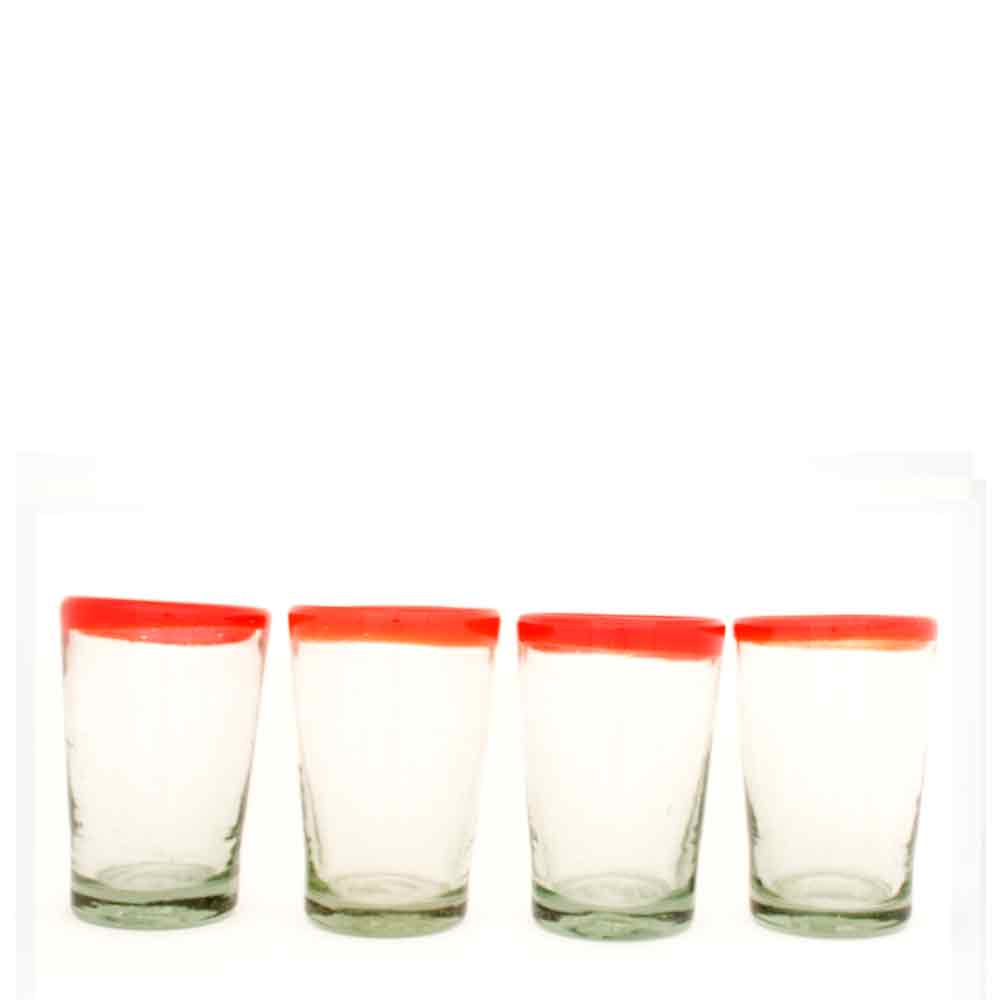 clear with a red rim tumbler hand made in mexico from recycled glass