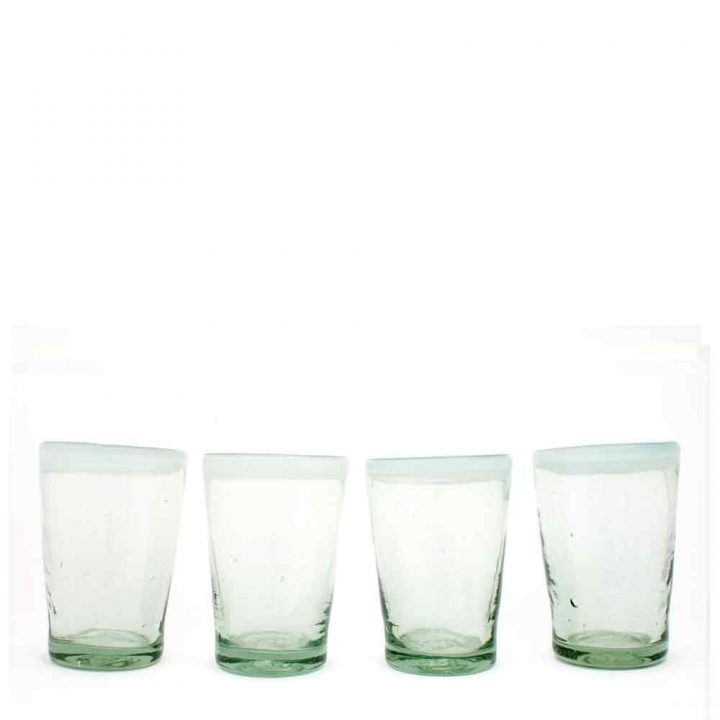 clear with a white rim tumbler hand made in mexico from recycled glass