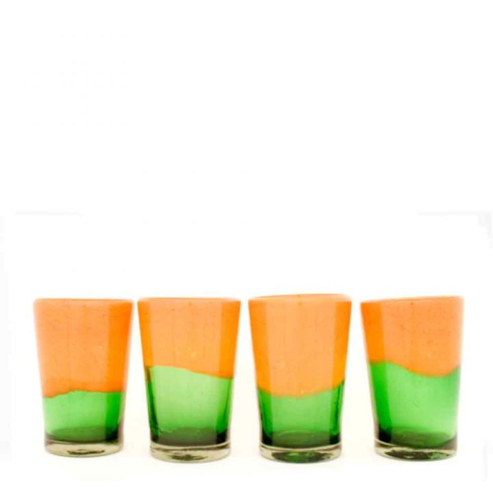 green and orange hand made glass tumbler