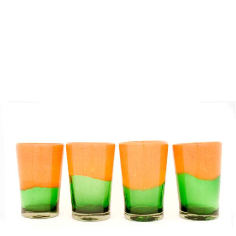 green and orange hand made glass tumbler