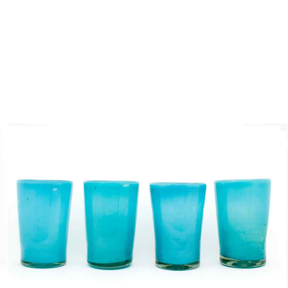 milky turquoise tumblers handmade in Mexico from recycled glass.
