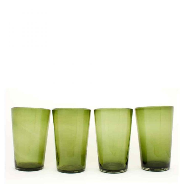 olive flared tumbler hand made in Mexico from recycled glass.