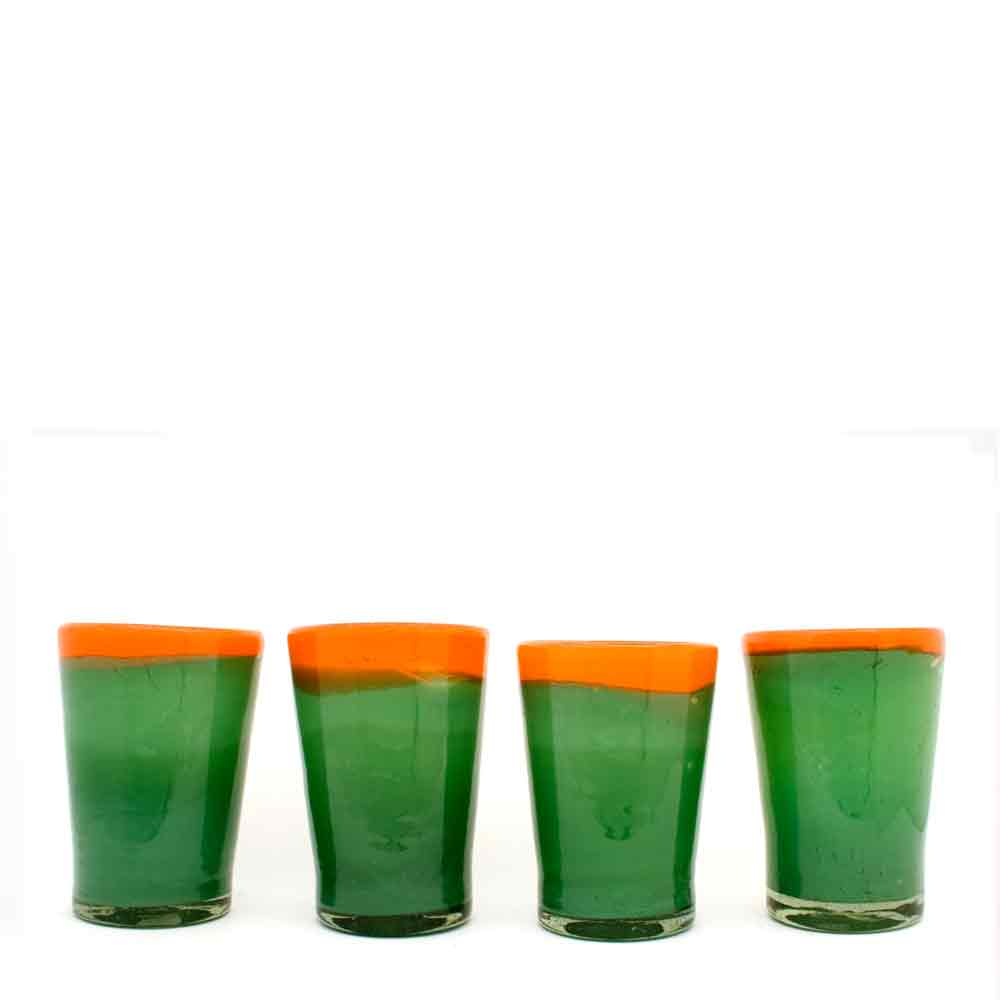 two tone orange and green flared tumbler hand made in Mexico from recycled glassware