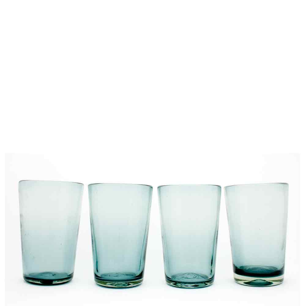 smokey tumblers hand made in Mexico from recycled glass