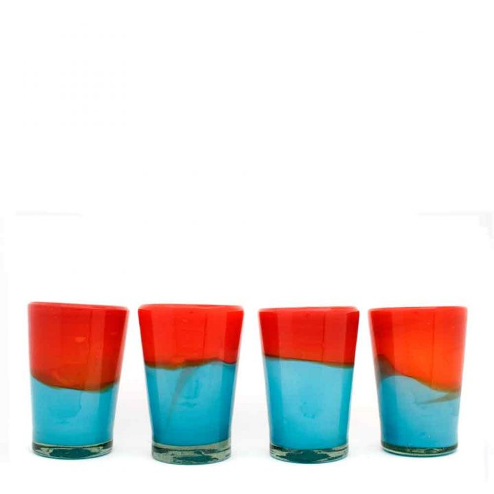 red and turquoise flared tumbler hand made in Mexico from recycled glass.