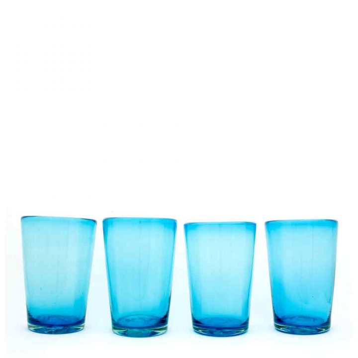 turquoise flared tumbler hand made from recycled glass