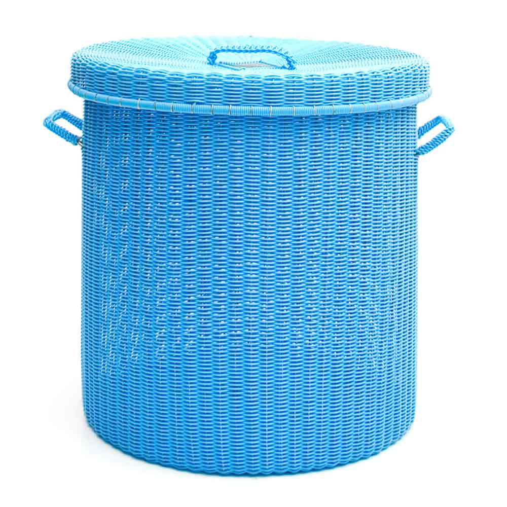 sky blue round storage laundry baskets