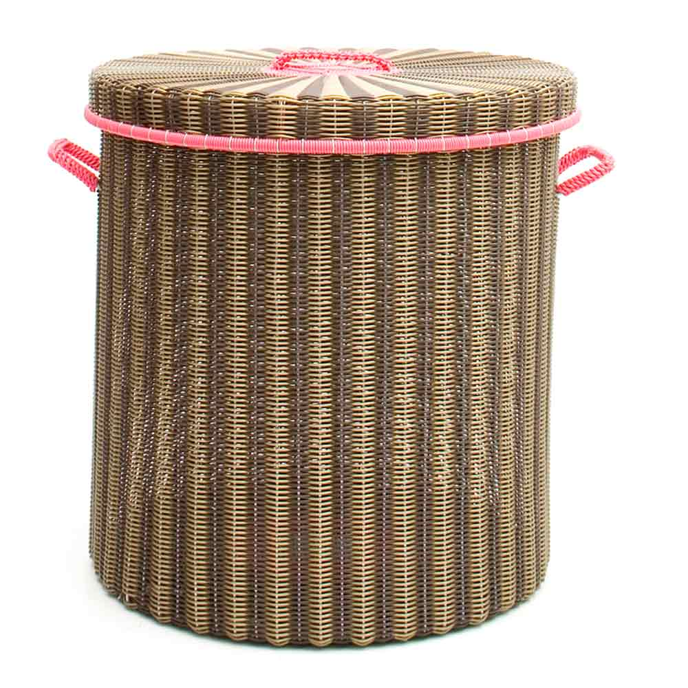 chocolate and gold ironing baskets