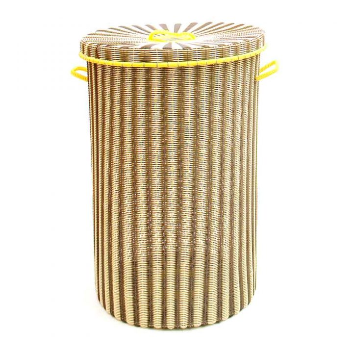cream and yellow large laundry baskets
