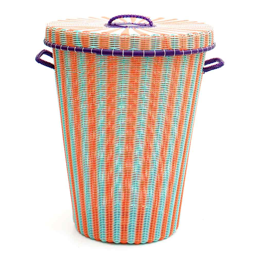 orange and green pistachio laundry basket.