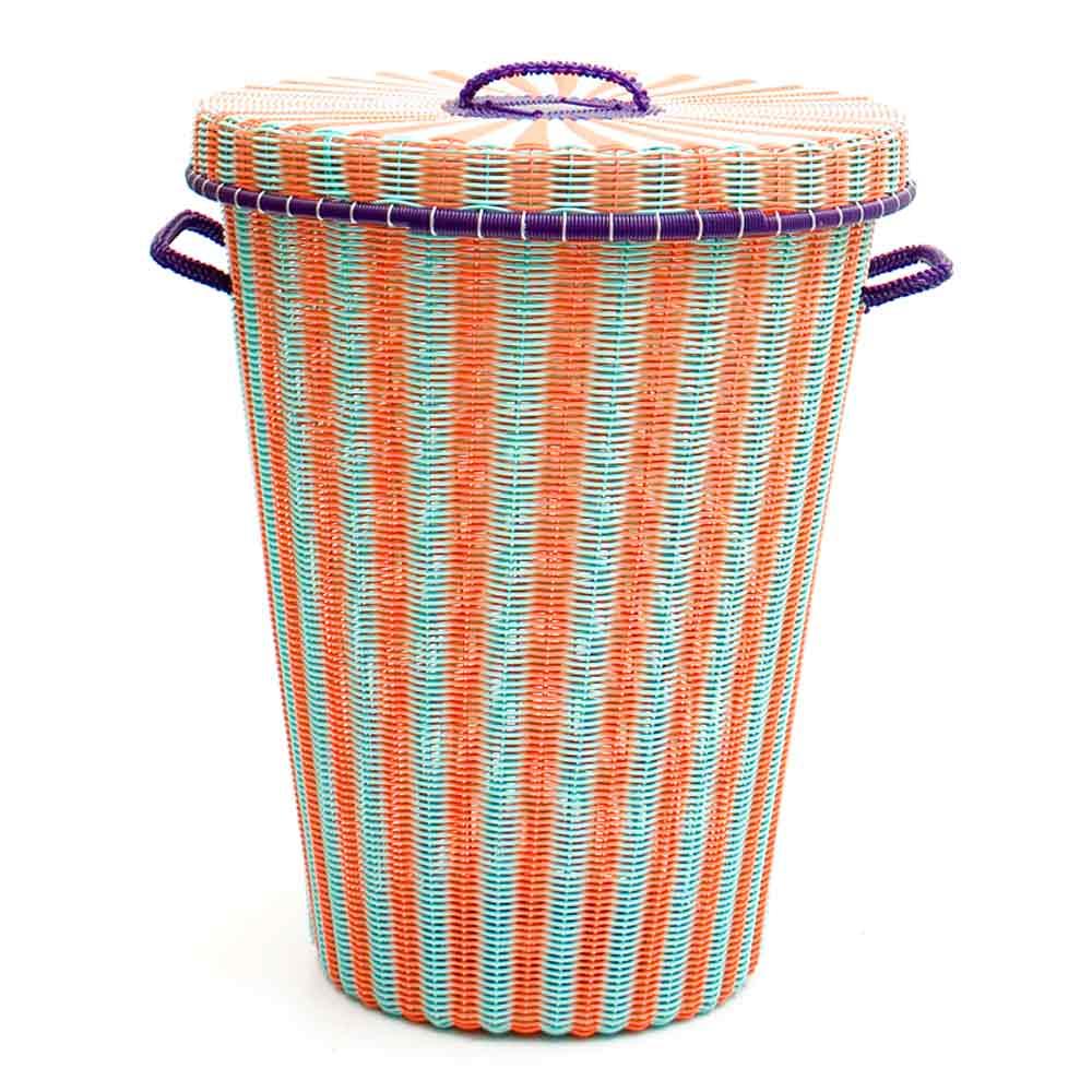 orange and green pistachio laundry basket.