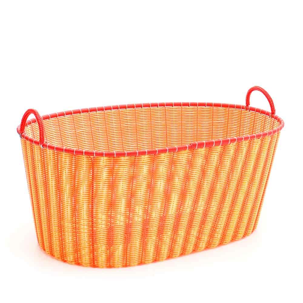 orange and yellow ironing baskets