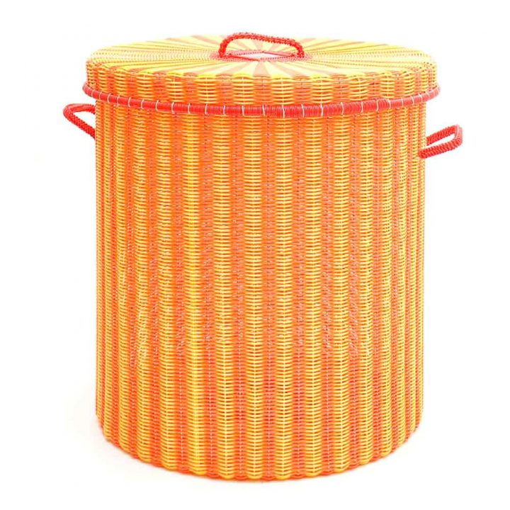 orange and yellow storage and laundry basket.