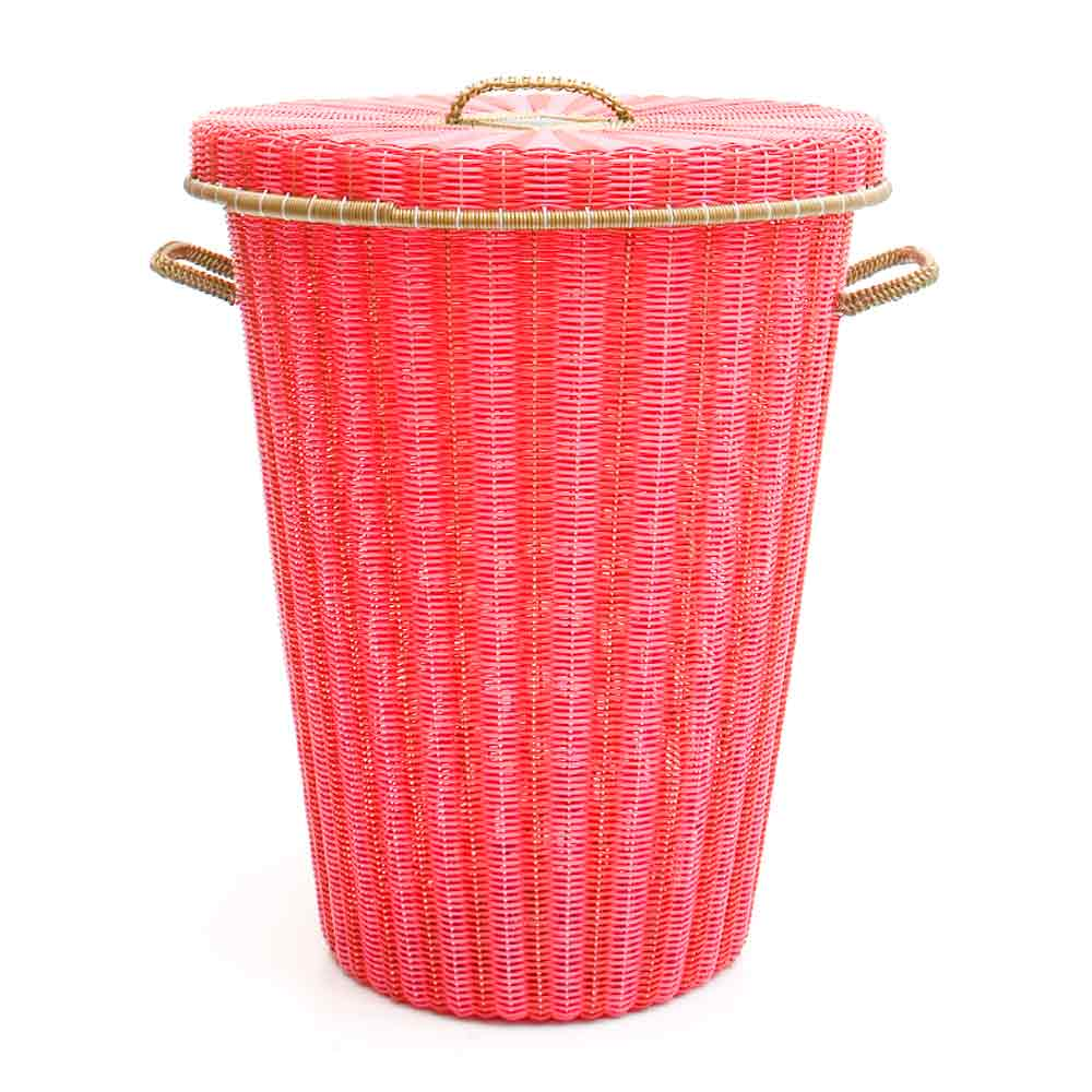 red and pink conical laundry basket