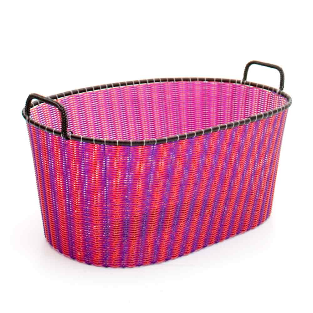 red and purple ironing baskets