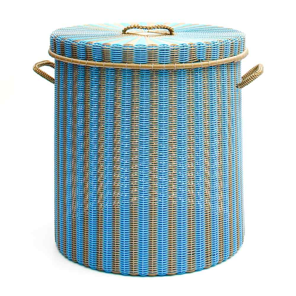sky blue and gold storage, laundry basket