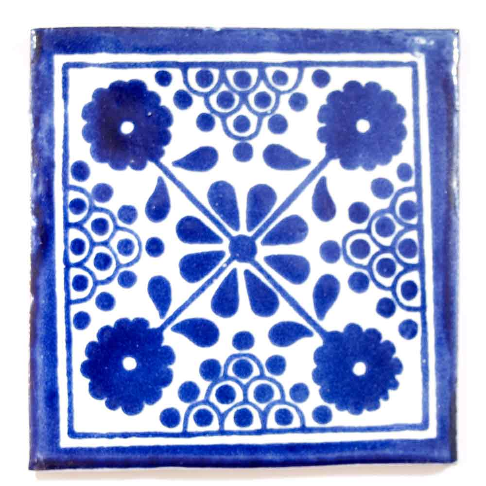 damask blue hand made tiles