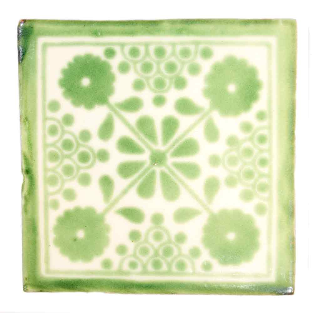 damask green hand made tiles.