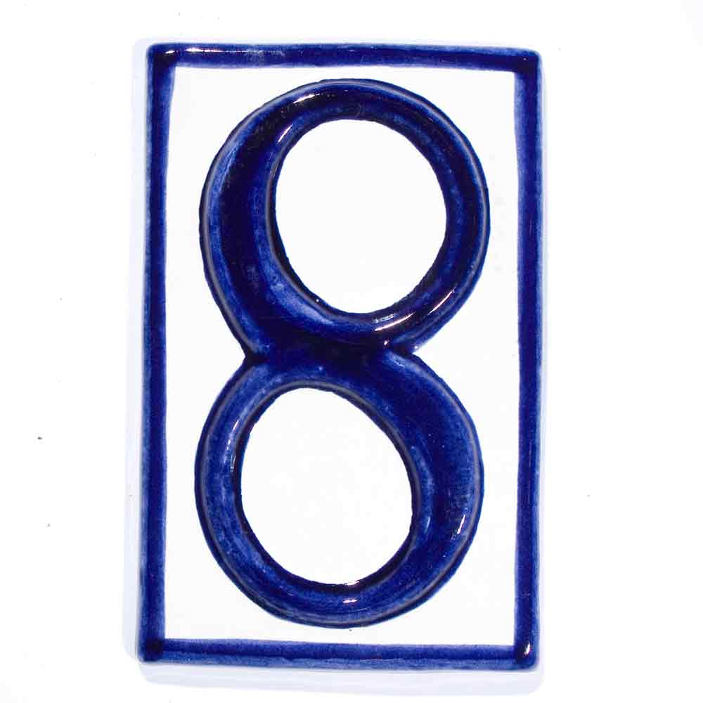 number eight hand made house numbers wall tiles