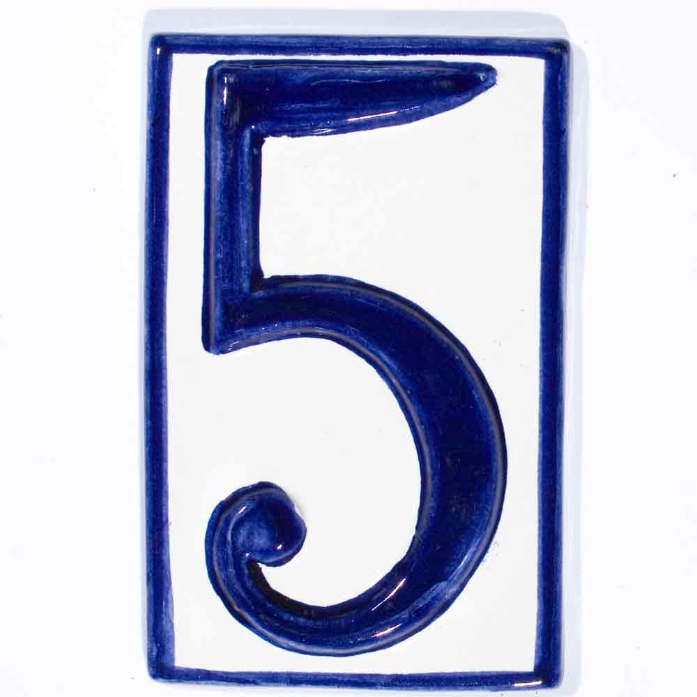 number five hand made house number tiles