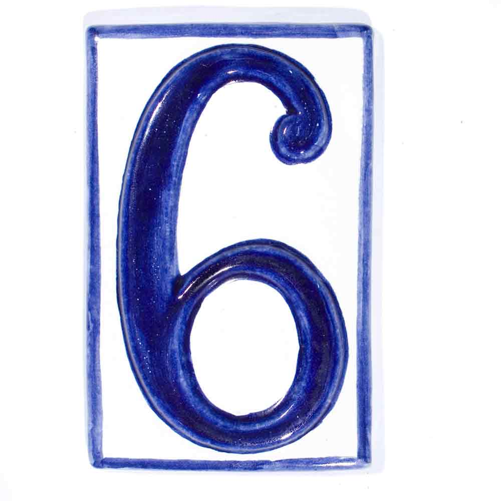 number six hand made house number wall tiles