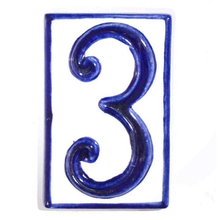 number three hand made house number tiles