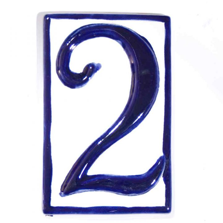 number two hand made house number tile