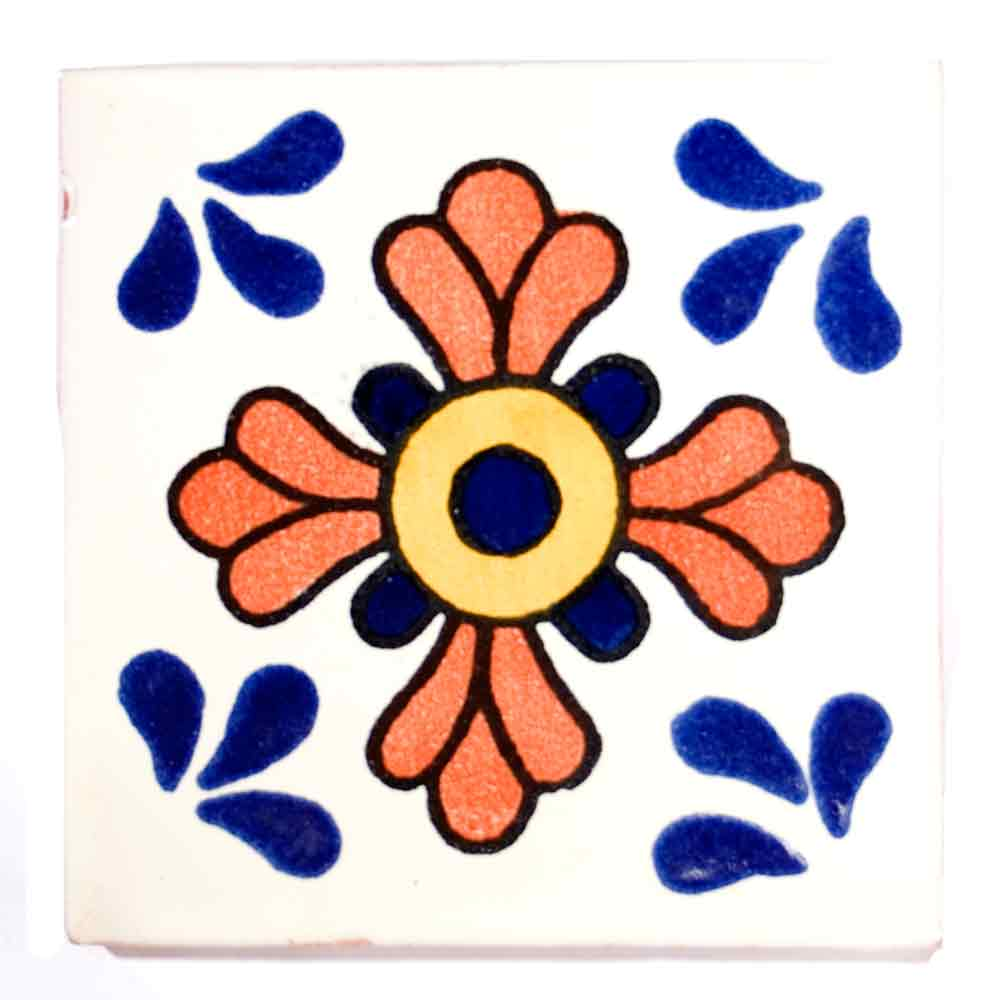 seville blue and terracotta hand made tiles.