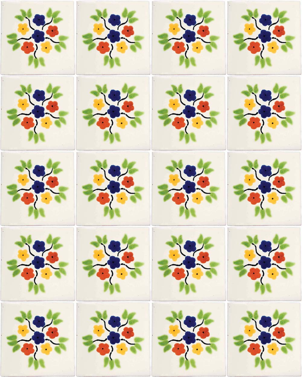 bouquet hand made wall tiles.