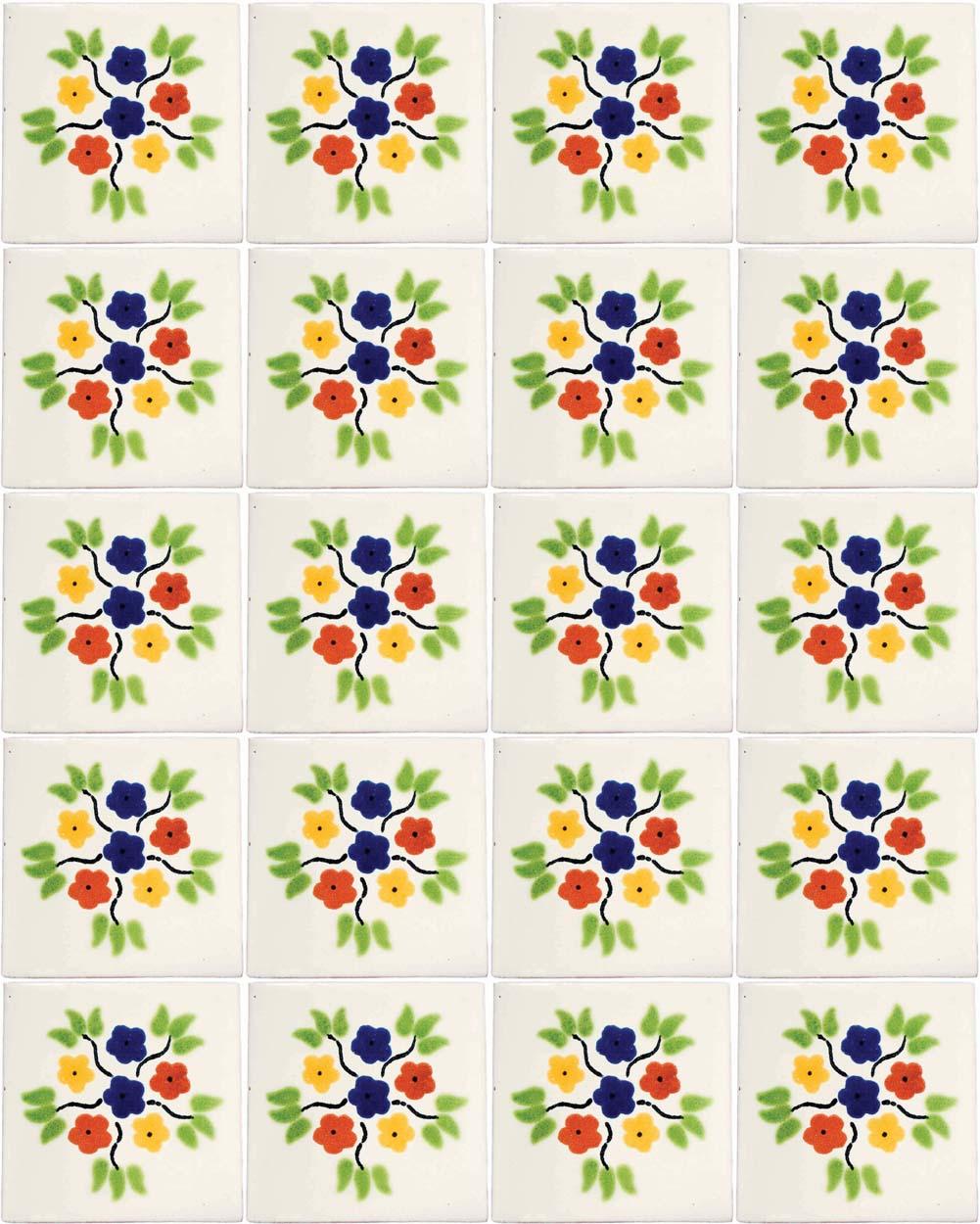 bouquet hand made wall tiles.