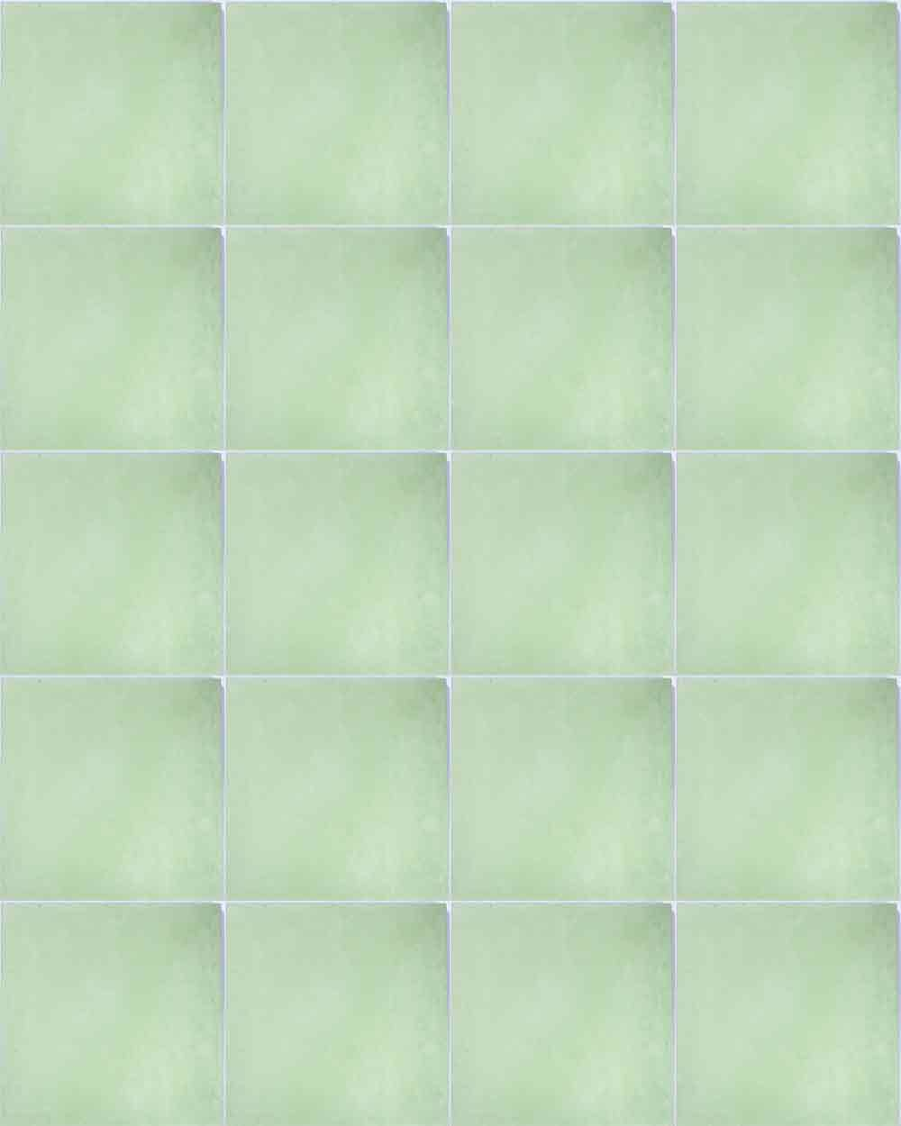 green hand made encasutic floor tiles