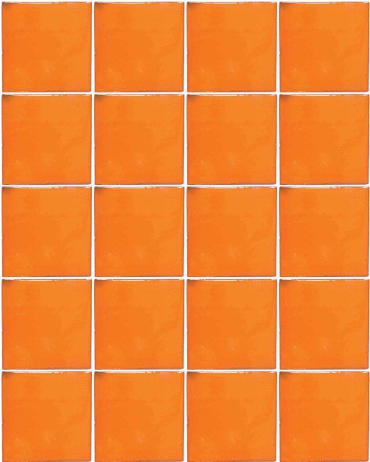 intense orange hand made tiles