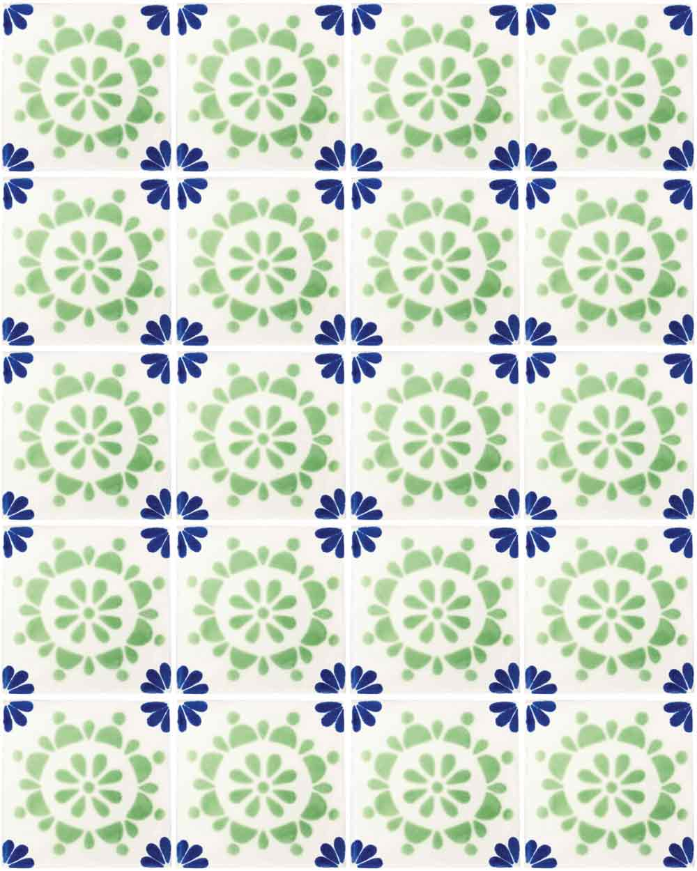 rocio blue and green hand made wall tiles