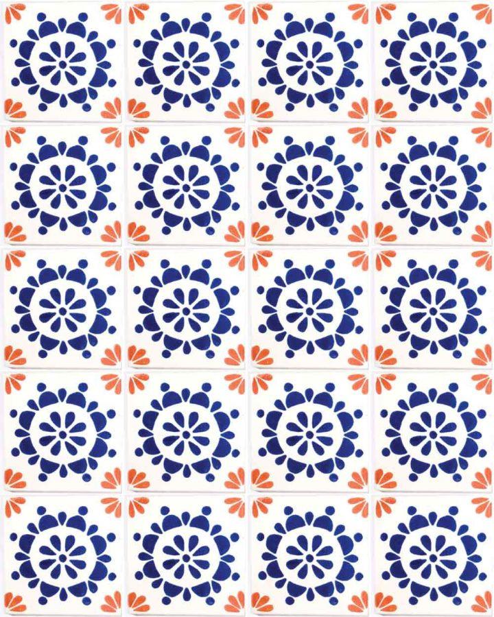 rocio blue and terracotta hand made wall tiles
