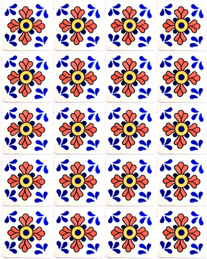 sevillle blue and terracotta hand made wall tiles.