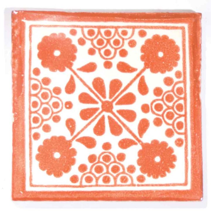 damask terracotta hand made wall tiles