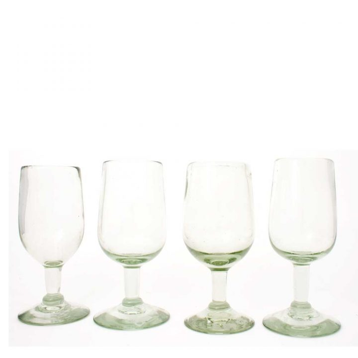 clear tulip wine glass made from recycled glassware