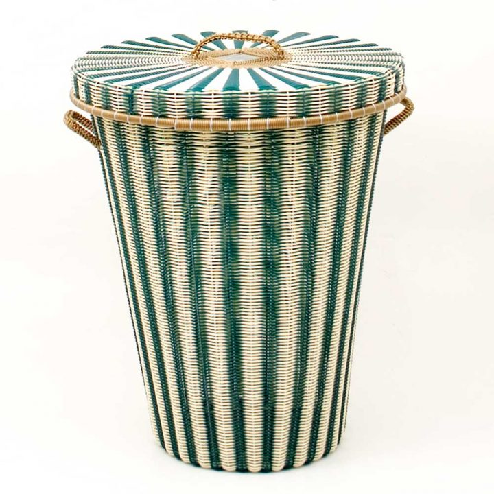 cream and green flared laundry basket