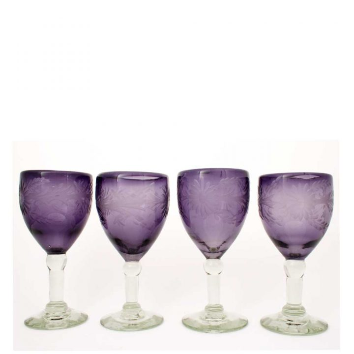 engraved grape wine glasses