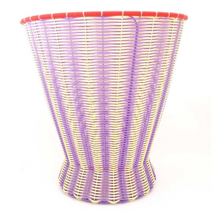 cream and lilac waste paper basket