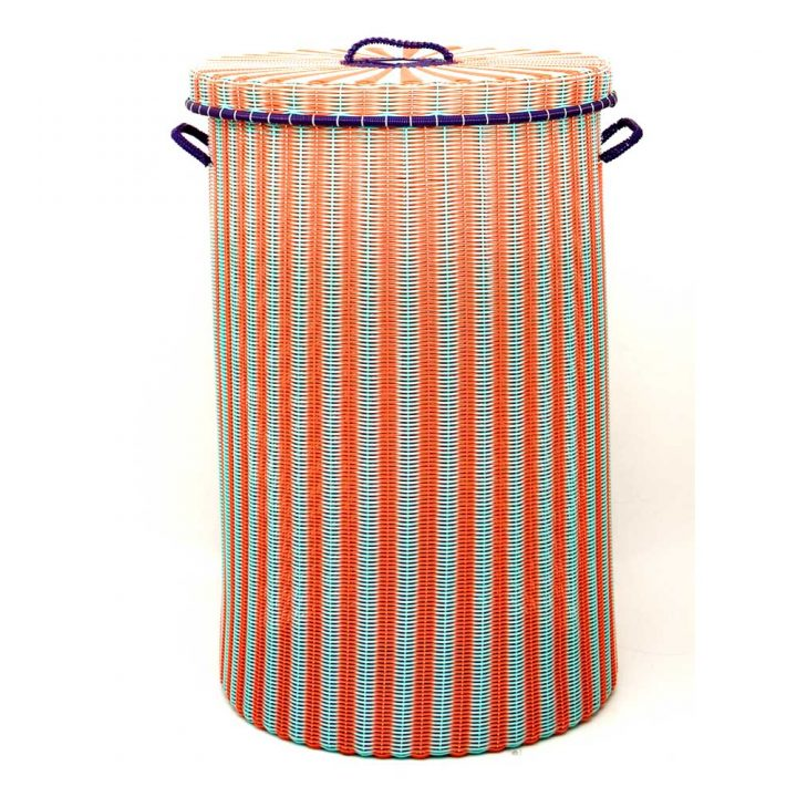 orange and green large laundry baskets