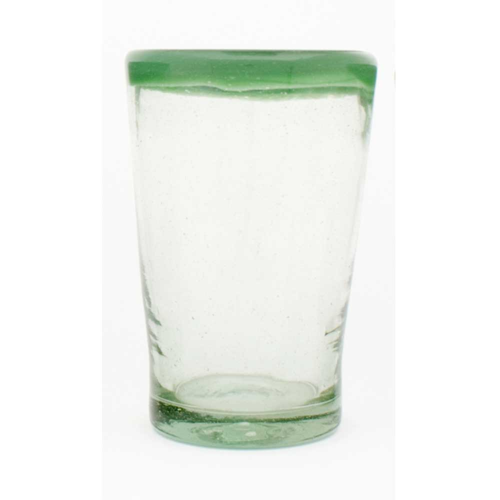 clear with a green rim flared
