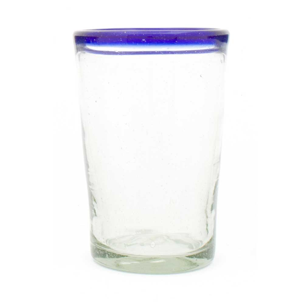 Clear with a blue rim flared