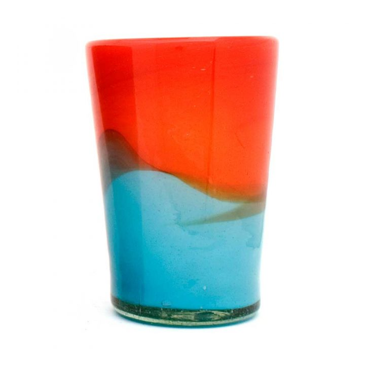 red and turquoise flarer tumbler