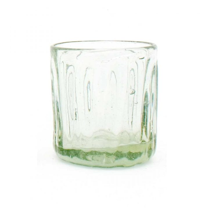Clear ribbed short glass