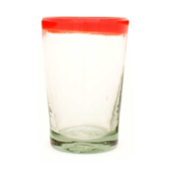 clear with a red rim flared
