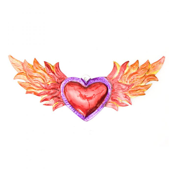 tin Heart with flames Hand made in Mexico