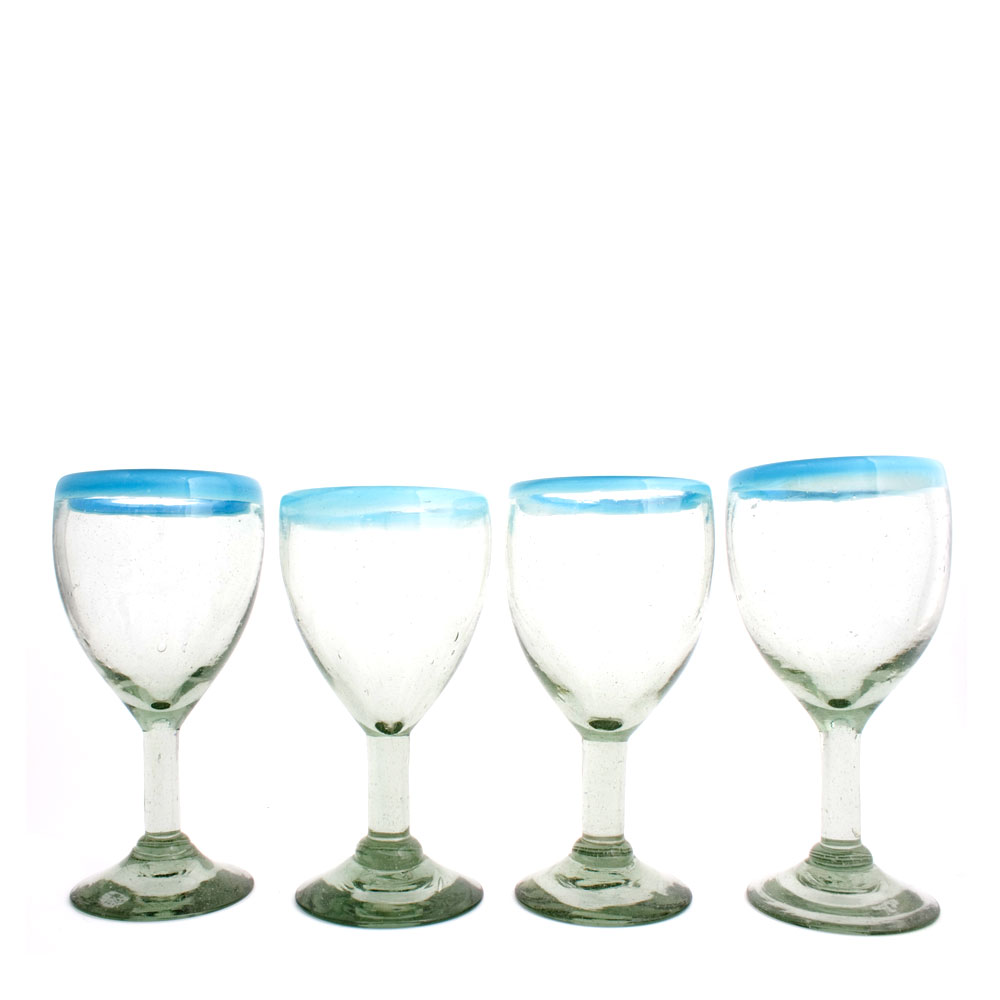 clear with a turquoise rim wine glasses